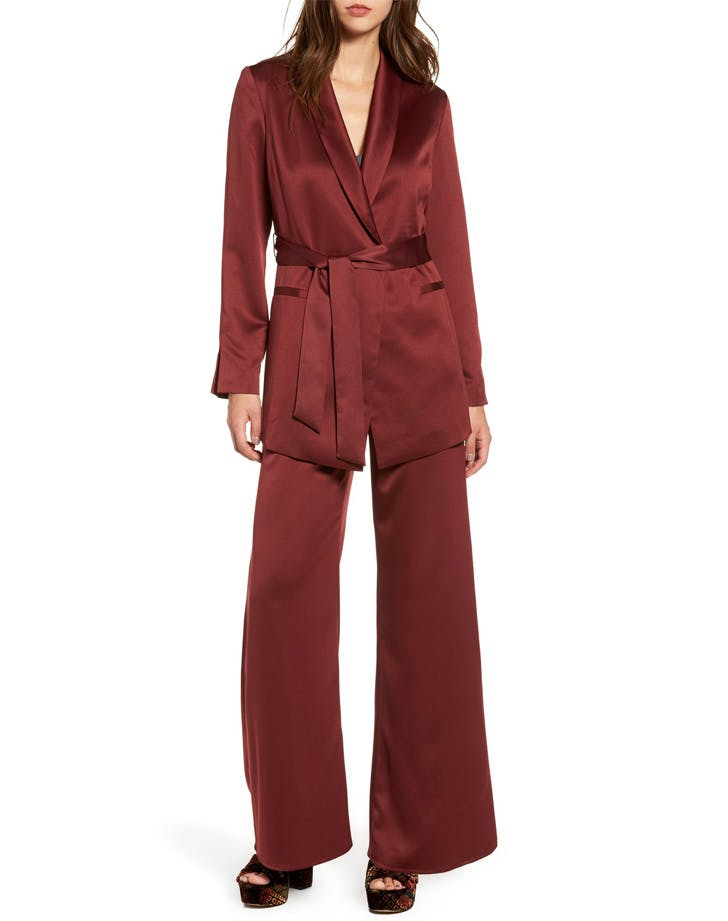 red satin suit holiday outfits NY