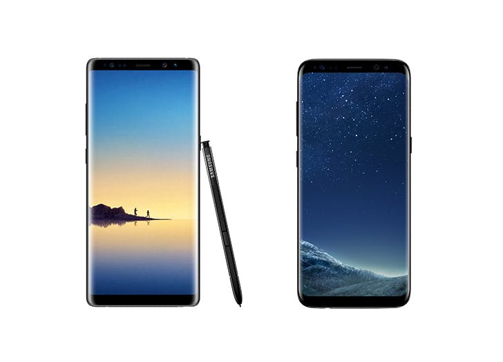 samsung note8 and galaxy smartphone