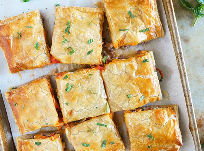 sausage and butternut squash slab pie