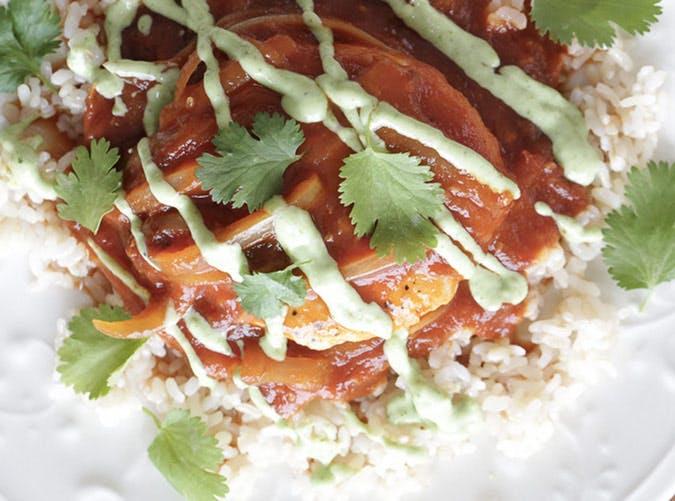 skillet chicken tomatoes avocado crema recipe 501