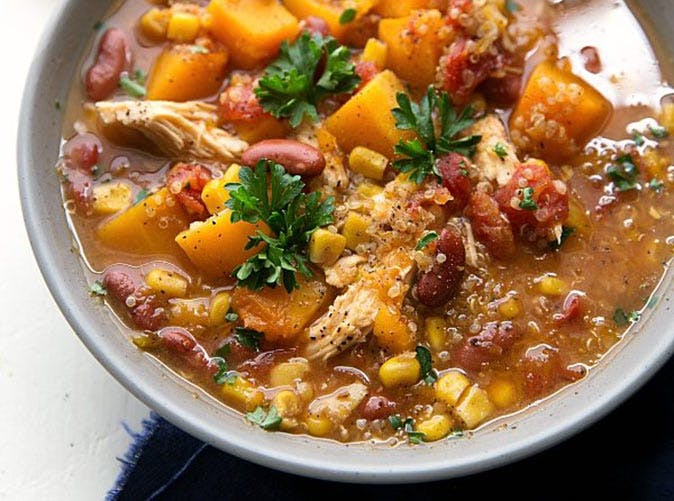 slow cooker butternut squash chicken quinoa soup under 500 calories