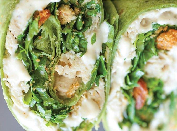 slow cooker chicken caesar wraps under 500 calories
