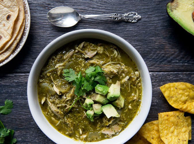 slow cooker chicken chile verde under 500 calories