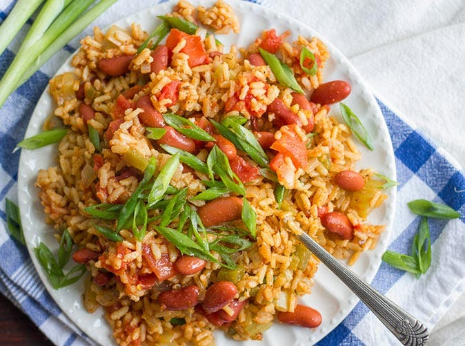 slow cooker vegan jambalaya