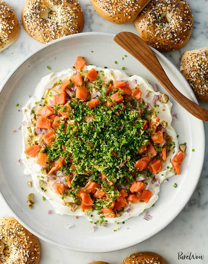 Layered Smoked Salmon Dip with Mini Bagel Chips