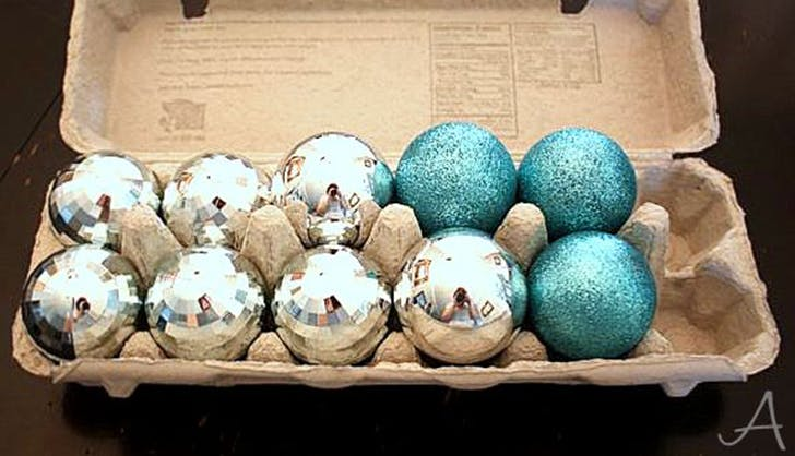 store christmas ornaments in an egg carton