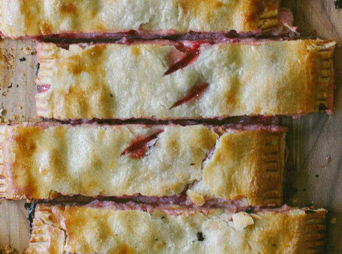 strawberry and cream slab pie
