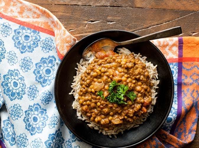 vegan slow cooker masala lentils