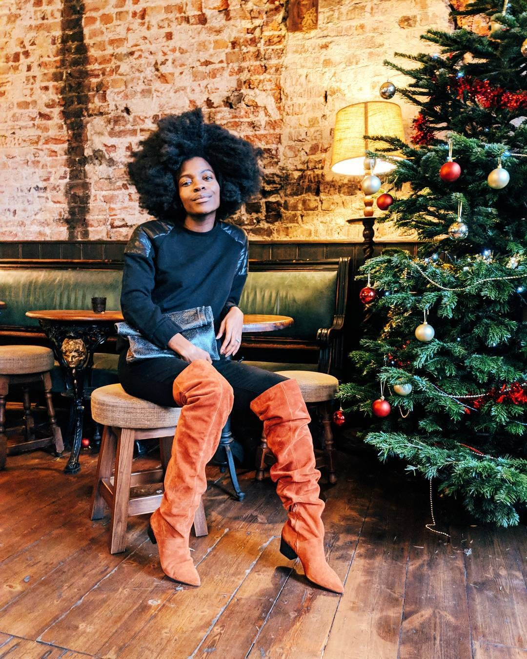 wear colorful over the knee boots freddie harrel winter january outfit ideas