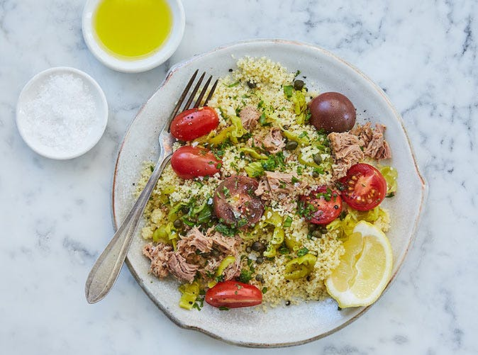 15 minute mediterranean couscous with tuna pepperoncini