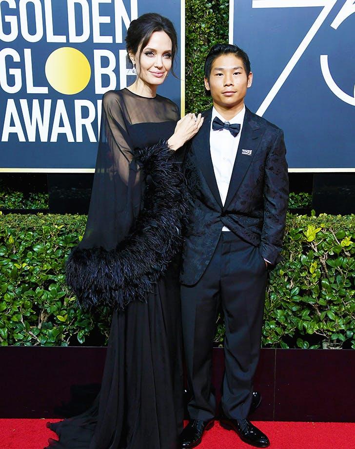Angelina Jolie Pax Jolie Pitt 2018 Golden Globes copy