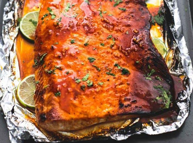 Baked Honey Sriracha Lime Salmon macro diet recipes