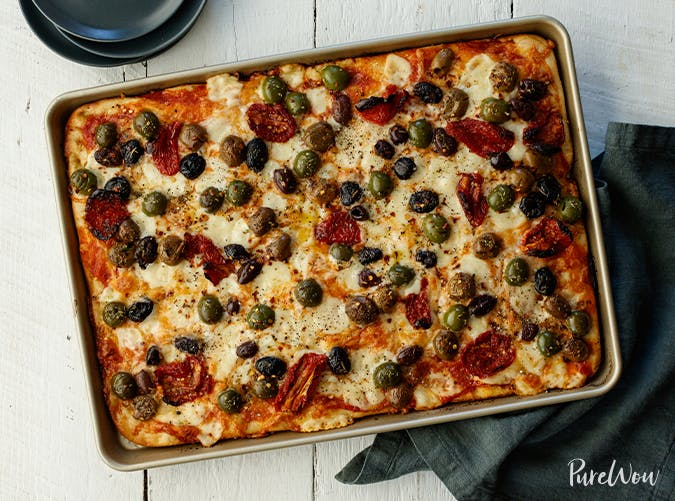 Baking Sheet Pizza with Olives and Sun Dried Tomatoes vegetarian sheet pan recipes1