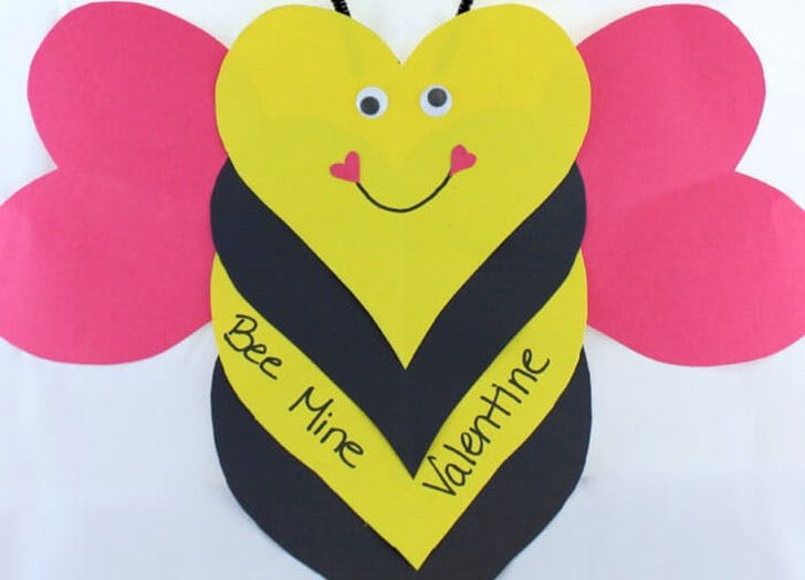 Bee Mine Valentine Valentines Day crafts for kids