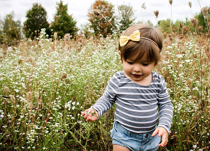 Birgit Norwegian baby girl in flower field