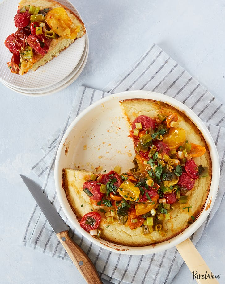 Buttermilk Skillet Corn Bread with Tomatoes and Green Onions easy bread recipes