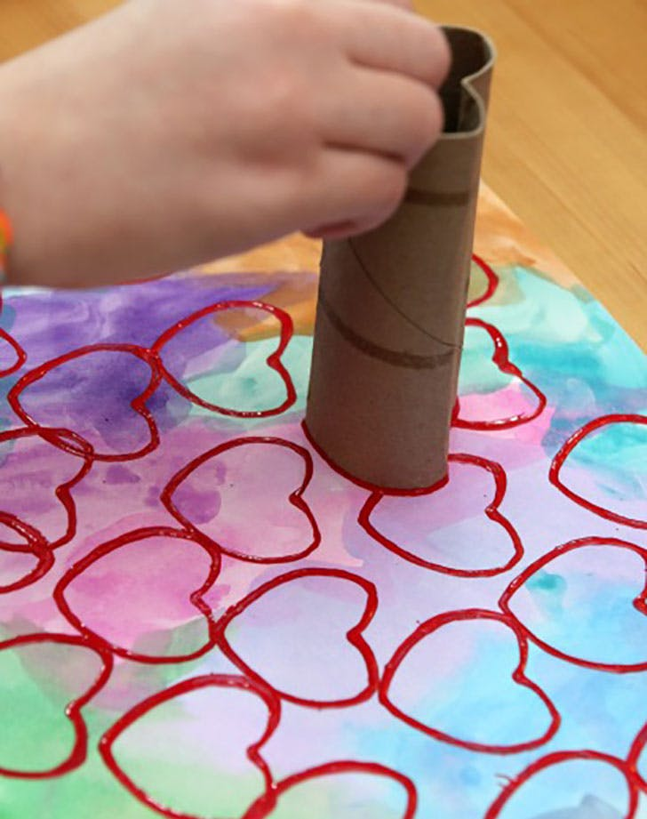 Cardboard Roll Heart Stamp Valentines Day Crafts for Kids