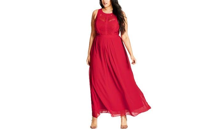 City Chic Red paneled Lace Dress