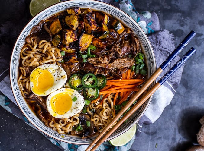 Crockpot Crispy Caramelized Pork Ramen Noodle Soup with Curry Roasted Acorn Squash recipe