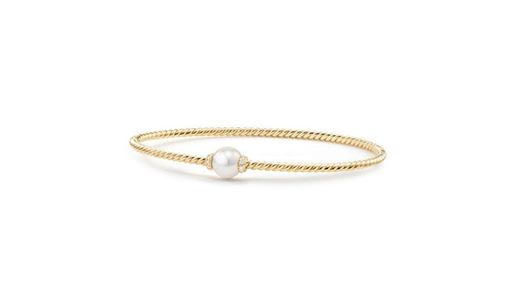 David Yurman diamond and pearl bangle