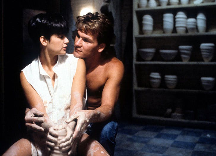 Demi Moore and Patrick Swayze in the romantic film Ghost