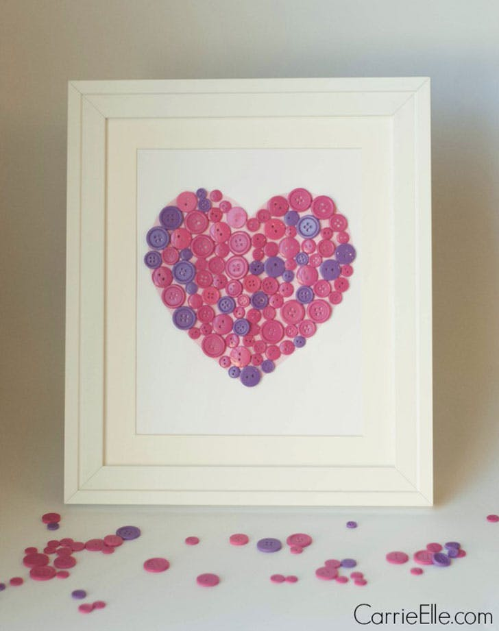 Framed Button Heart Valentines Day Crafts for Kids