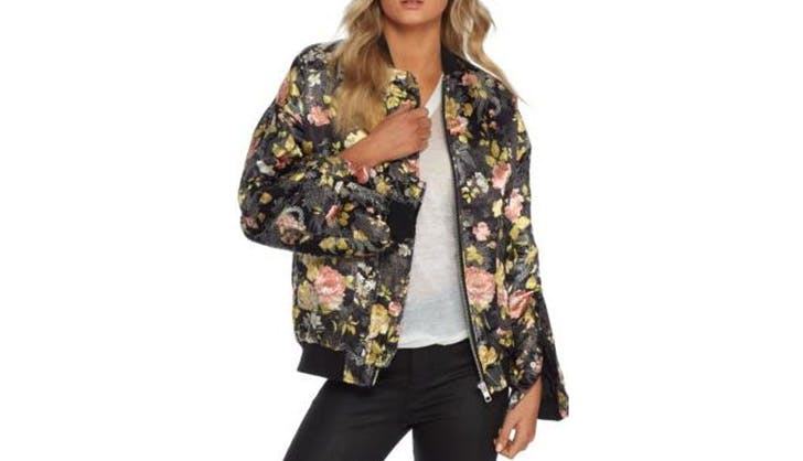 Free People Floral Bomber Jacket