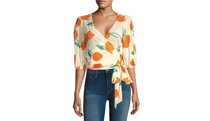 Ganni orange wrap top