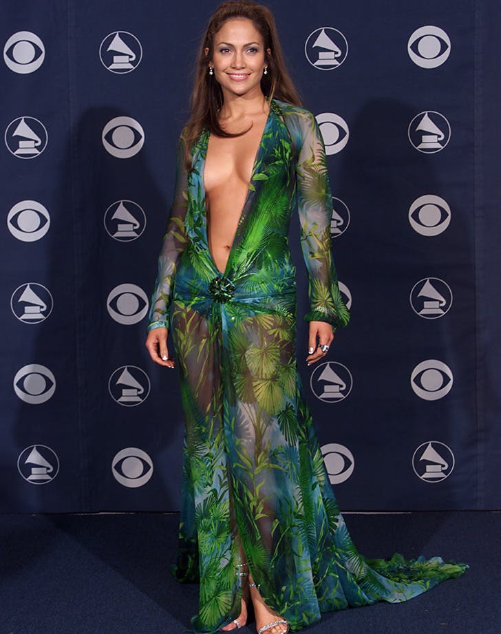 Jennifer Lopez green Grammys Dress