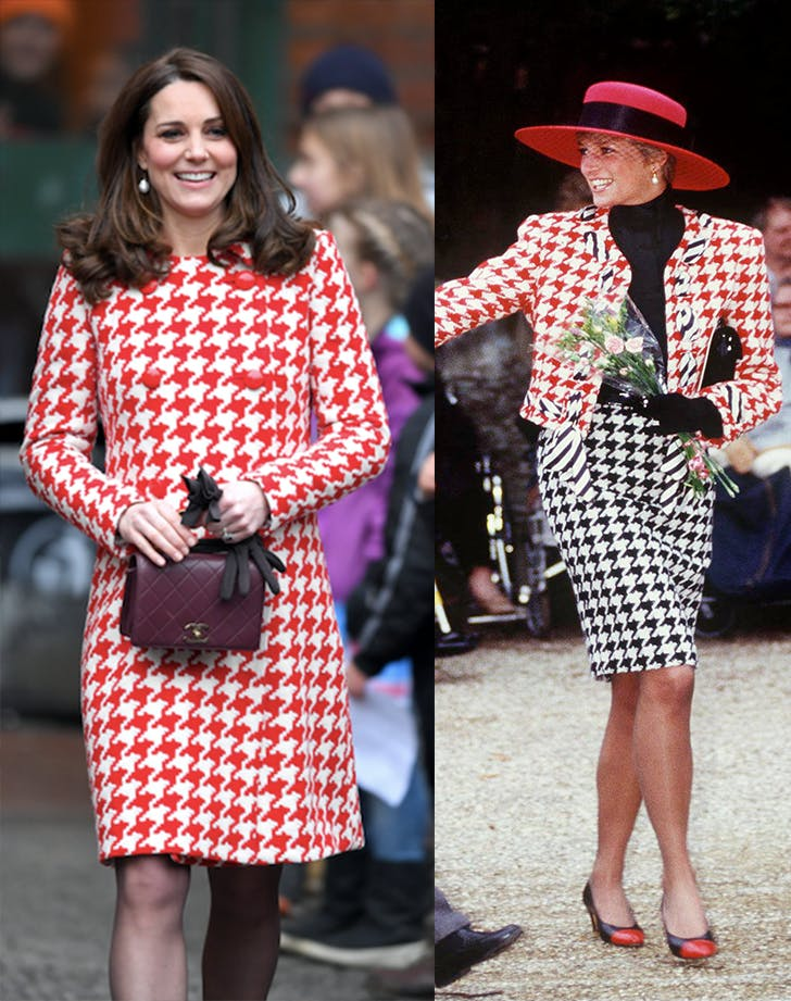 Kate Middleton Princess Diana red houndstooth Sweden tour