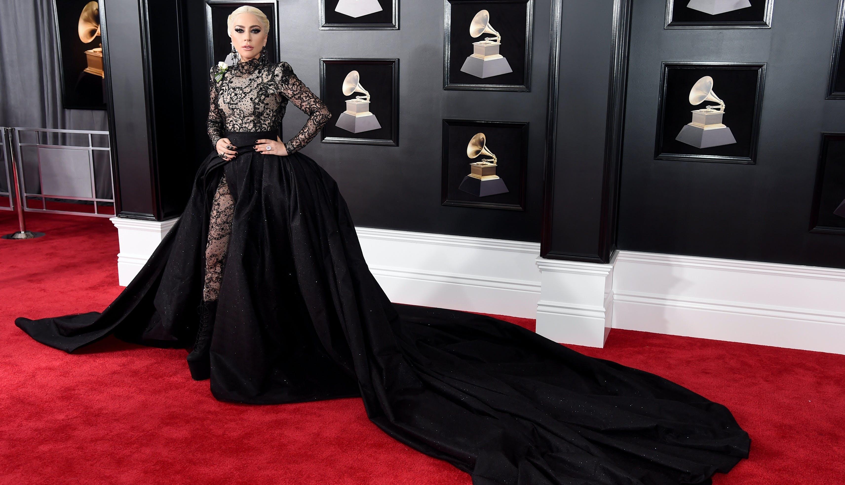 Lady Gaga Grammy awards red carpet look 1