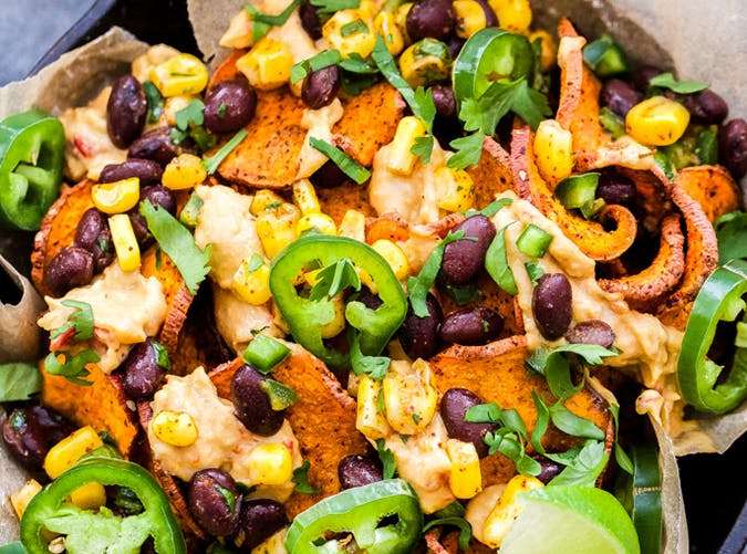 Loaded Southwest Sweet Potato Nachos vegetarian sheet pan recipes