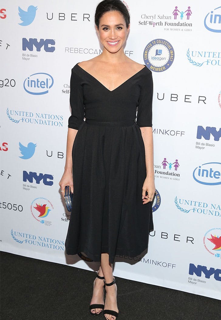 Meghan Markle Black Off the Shoulder Dress