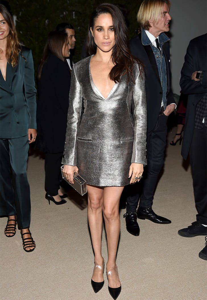 Meghan Markle Full Silver Mini Dress Outfit