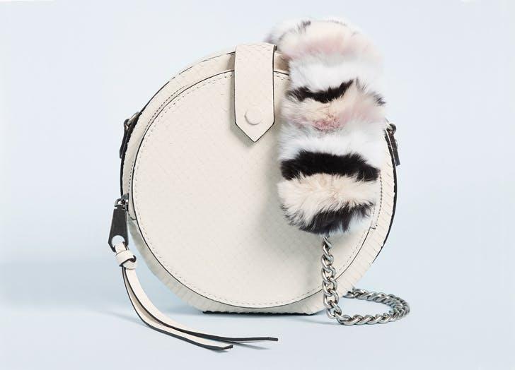 NY fur strap circle bag