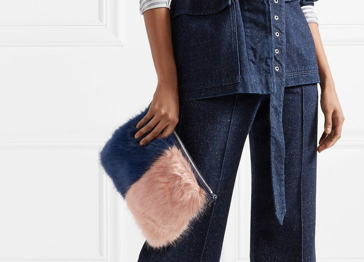 NY furry two tone clutch