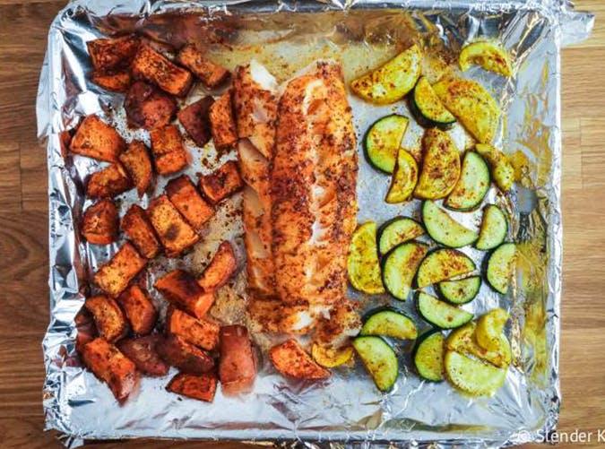 One Pan Blackened Cod  Sweet Potatoes and Zucchini macro diet recipes