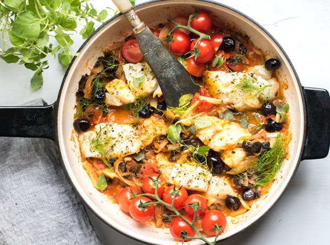 One Pan Mediterranean Cod with Fennel  Kale and Black Olives macro diet recipes