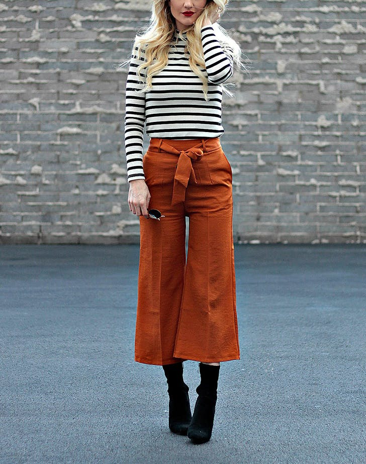Orange Culottes Sock Boots