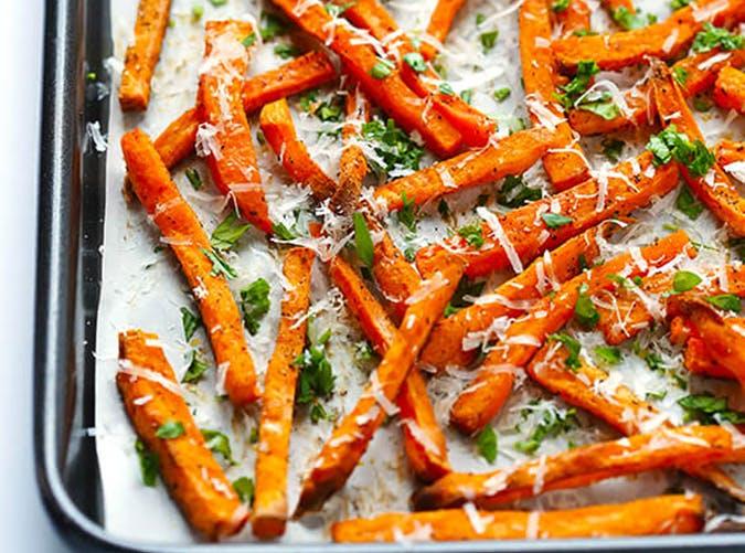 Parmesan Baked Sweet Potato Fries vegetarian sheet pan recipes