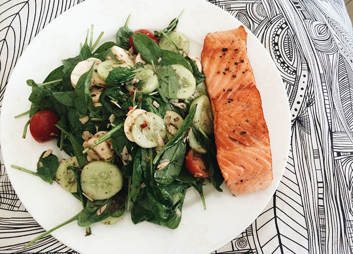Plate of salmon and healthy fats for keto diet