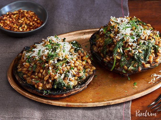 Portobello Mushrooms Stuffed with Barley Risotto vegetarian comfort food recipes