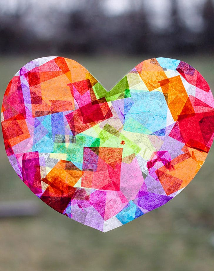 Rainbow Heart Suncatchers Valentine crafts for kids