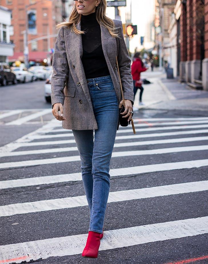 Red Sock Booties Skinny Jeans