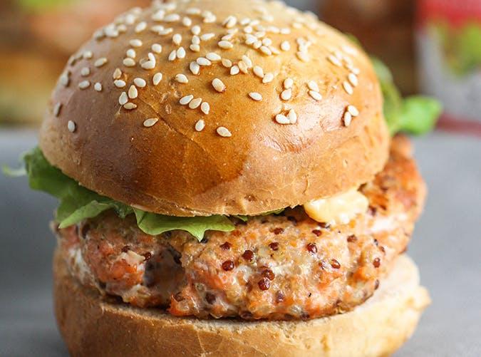 Salmon Quinoa Burgers  macro diet recipes