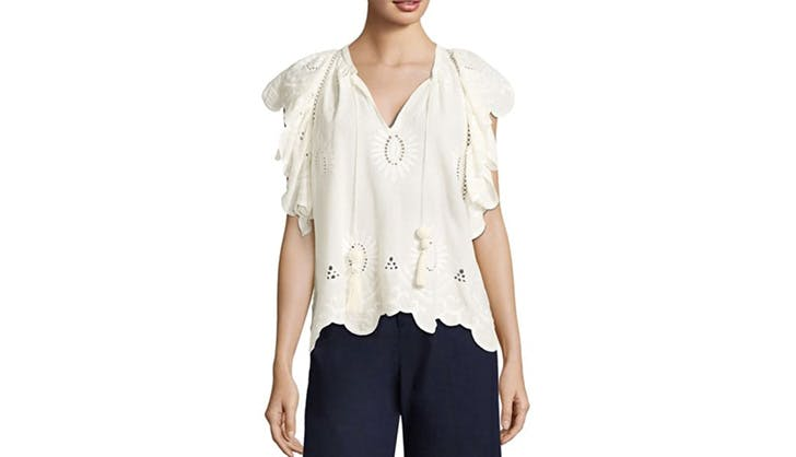 Sea Eyelet Short Sleeved Blouse