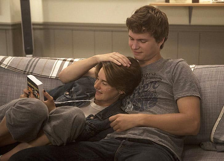 Shailene Woodley and Ansel Elgort in The Fault in Our Stars romantic movie still1