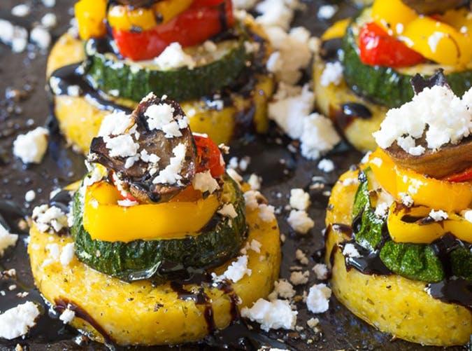 Sheet Pan Roasted Vegetable Polenta Stacks vegetarian sheet pan recipes