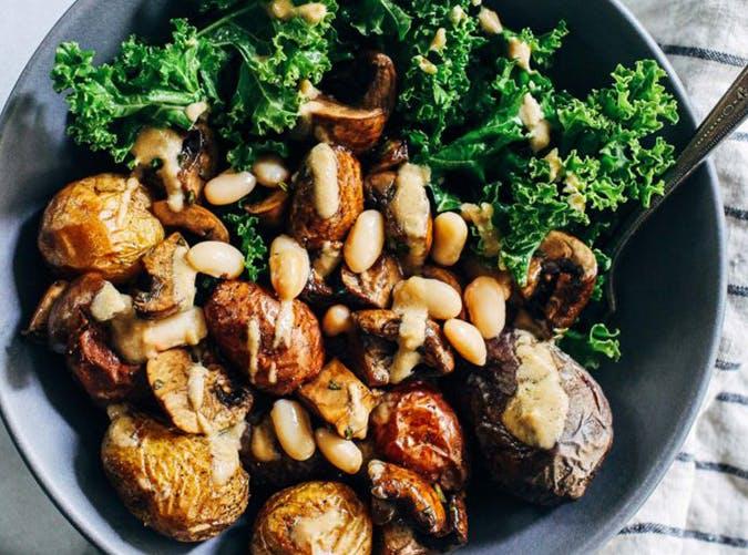 Sheet Pan Rosemary Potatoes with Mushrooms  White Beans and Kale vegetarian sheet pan recipes