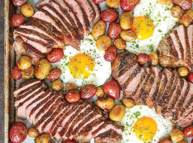 Sheet Pan Steak  Eggs and Potatoes macro diet recipes